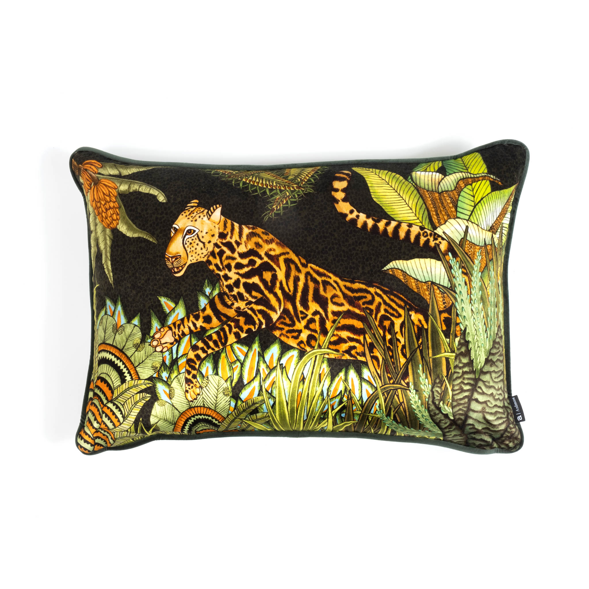 Cheetah Kings Forest Lumbar Pillow - Velvet - Delta
