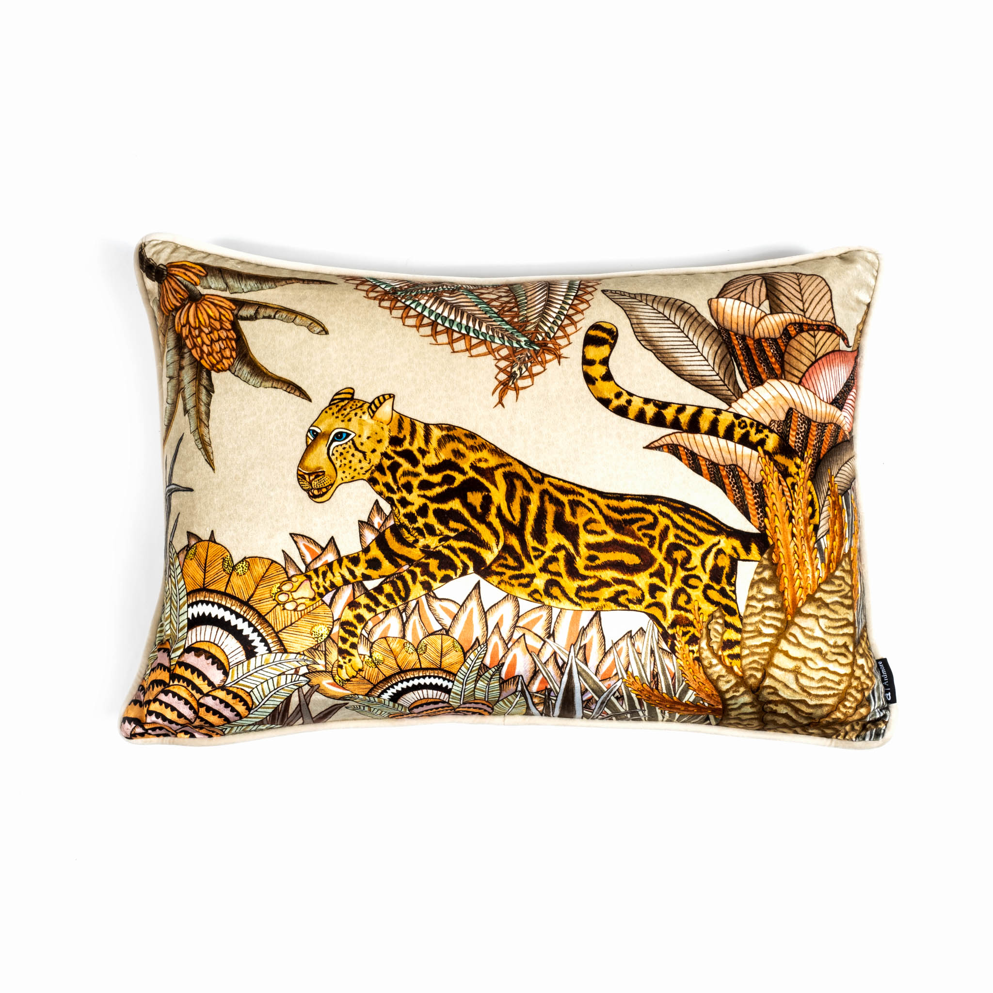 Cheetah Kings Forest Lumbar Pillow - Velvet - Magnolia