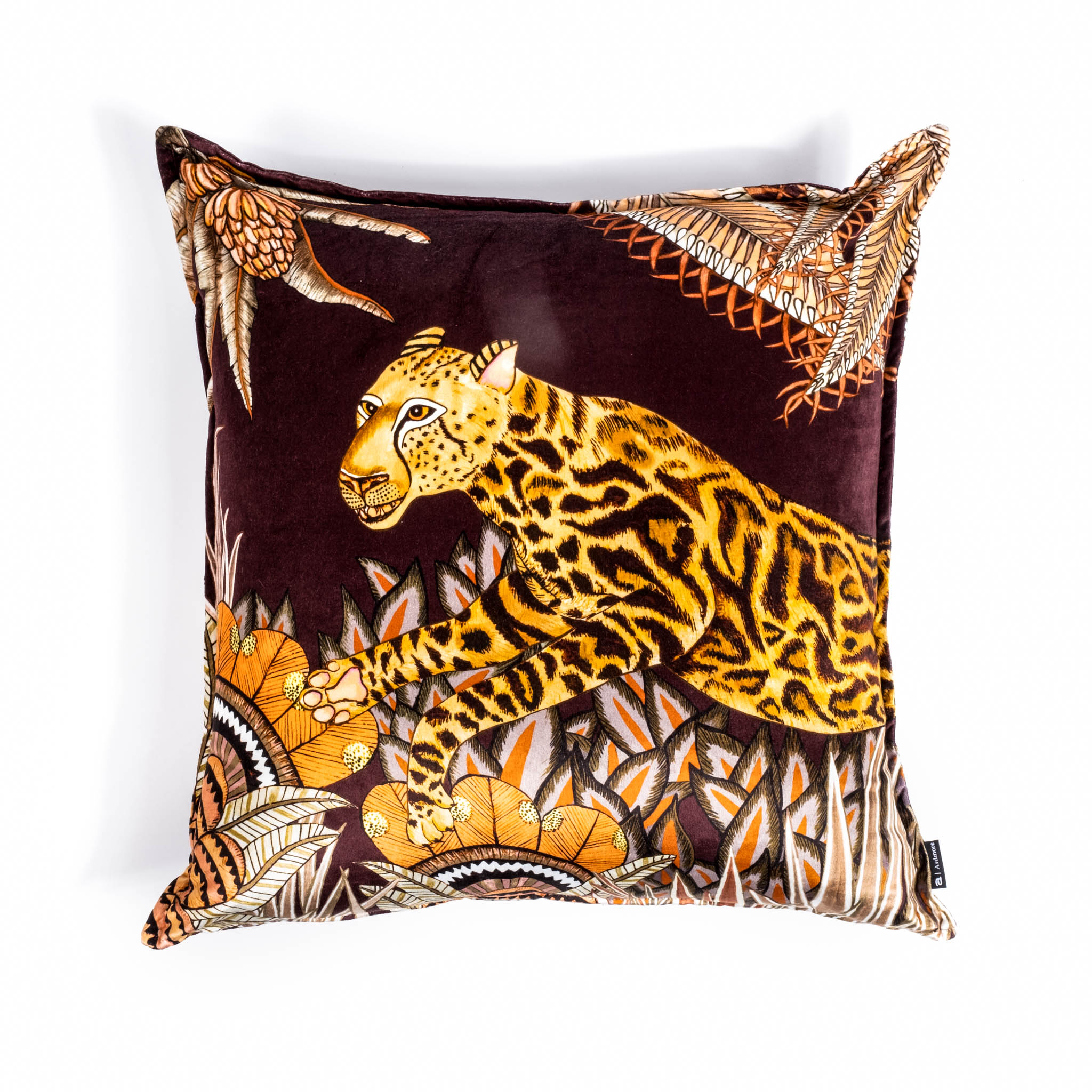 Cheetah Kings Forest Pillow - Velvet - Plum