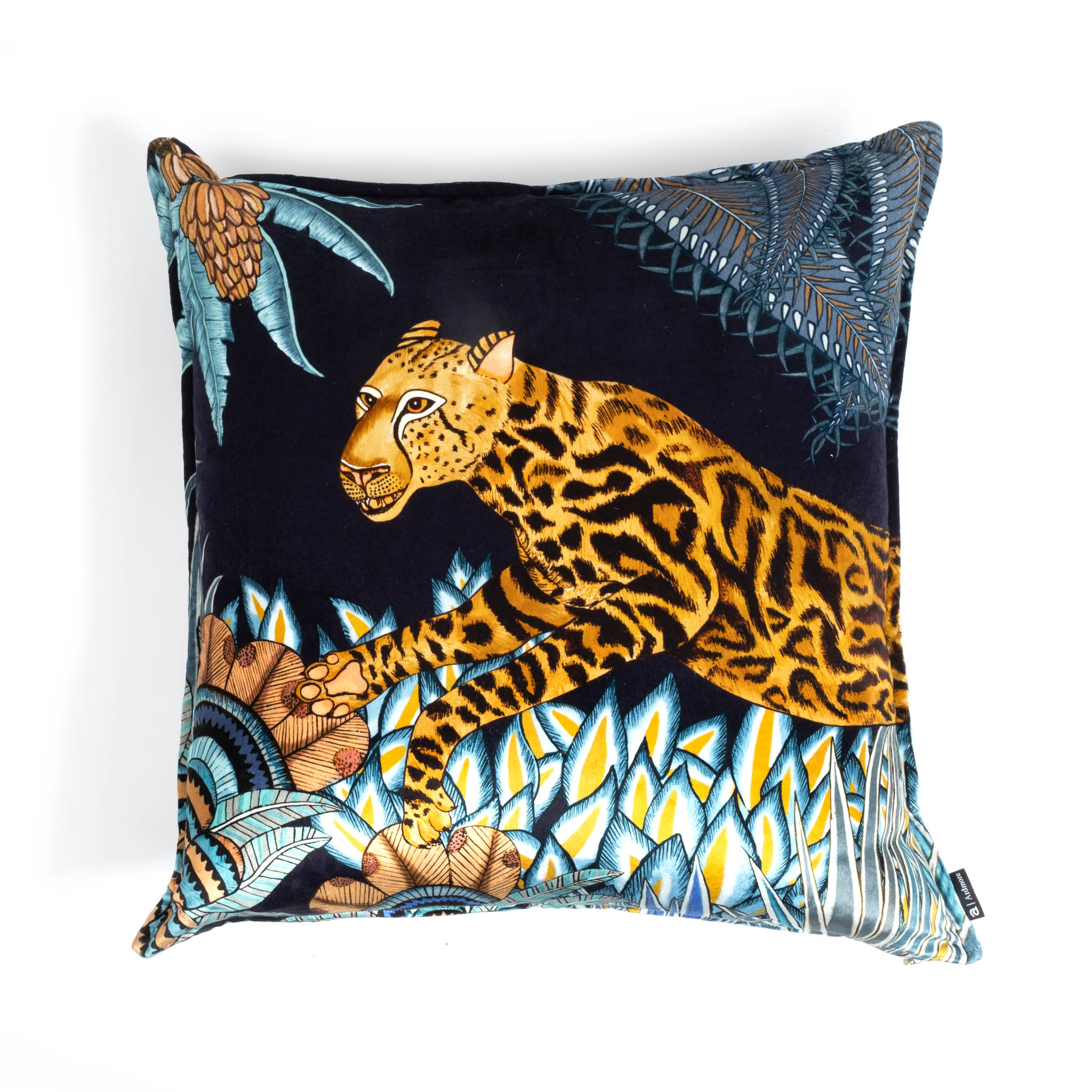 Cheetah Kings Forest Pillow - Velvet - Tanzanite