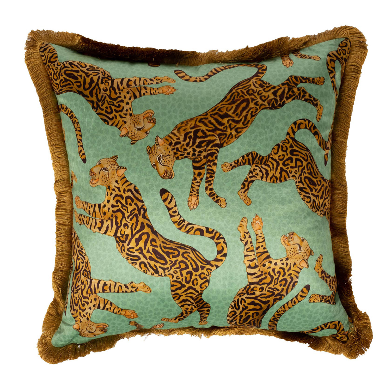 Cheetah Kings Pillow - Velvet w/ Fringe - Jade