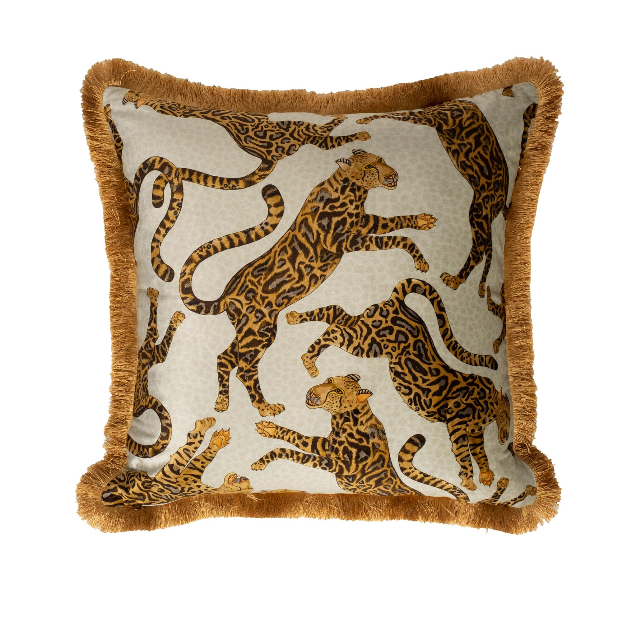 Cheetah Kings Pillow - Velvet w/ Fringe - Stone