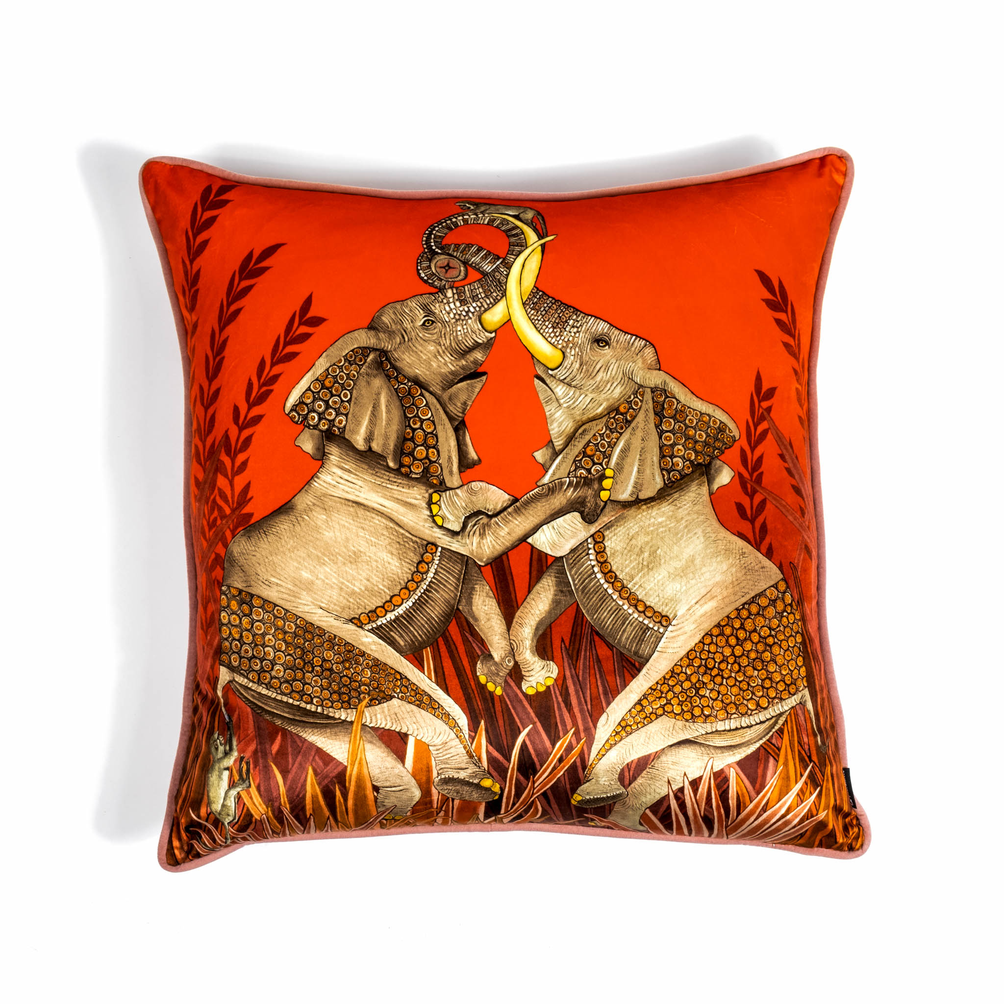 Dancing Elephants Pillow - Velvet - Sunset