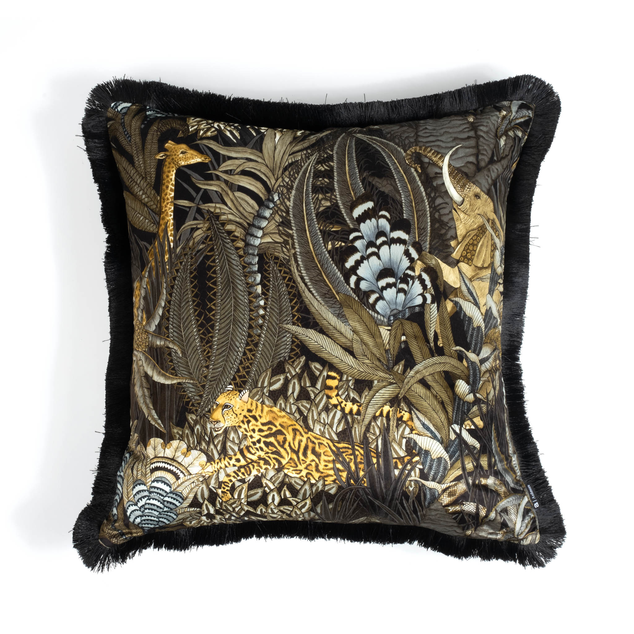 Sabie Forest Pillow - Velvet w/ Fringe - Moonlight