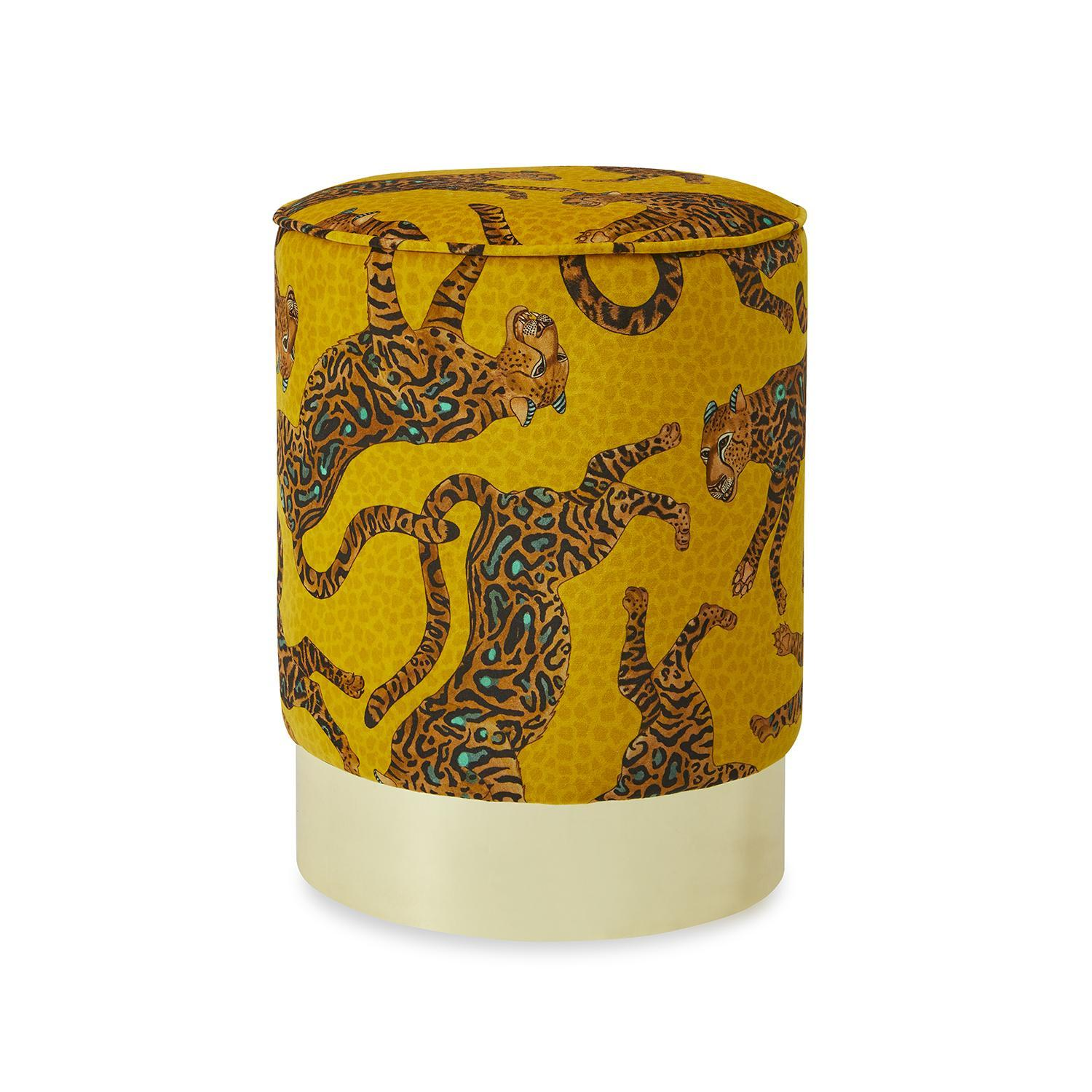 Cheetah Kings Velvet Pouf on Gold Base - Gold