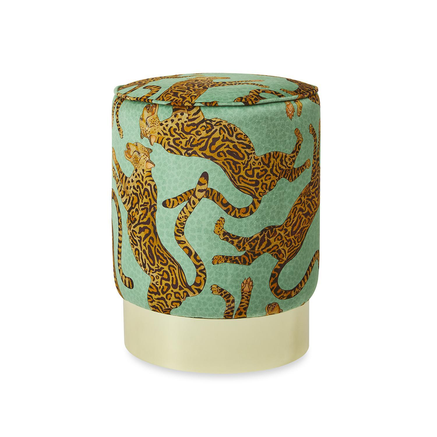 Cheetah Kings Velvet Pouf on Gold Base - Jade