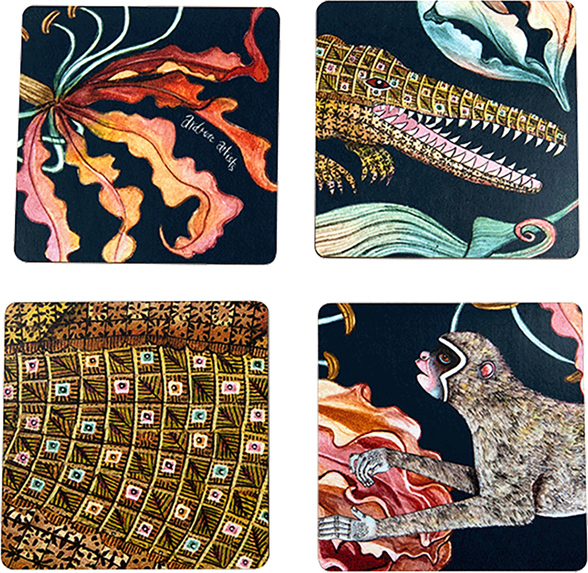 Flame Lily Crocodile Coasters (S/4) - Moonlight