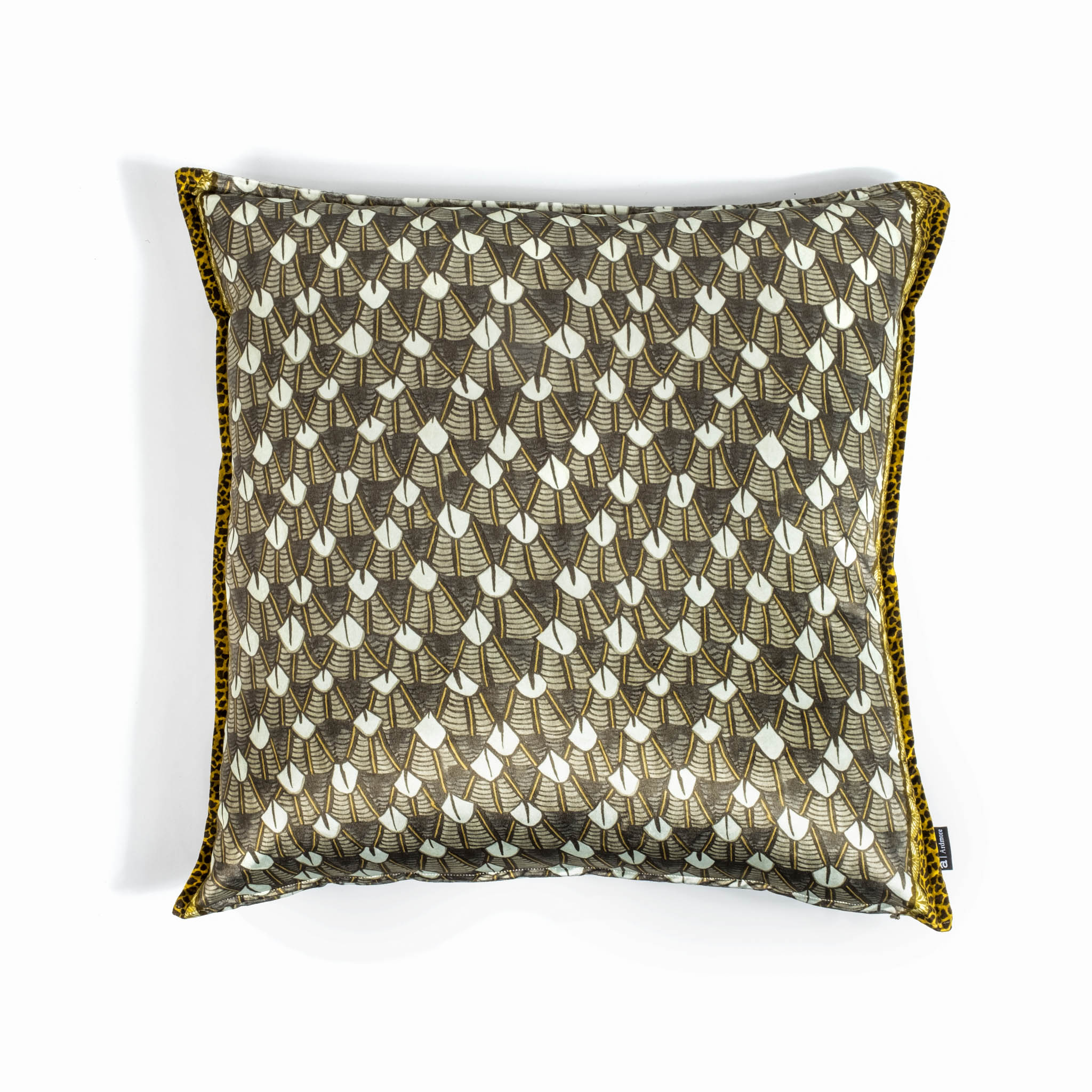 Feather Pillow - Velvet - Silver Ripple