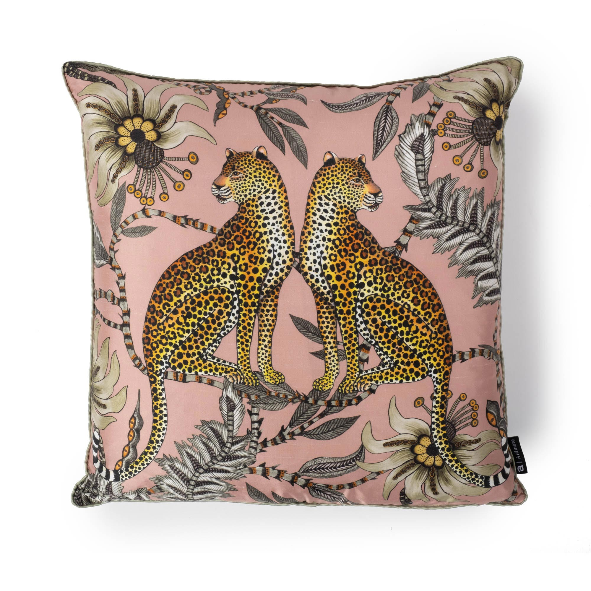 Lovebird Leopards Pillow - Silk - Magnolia