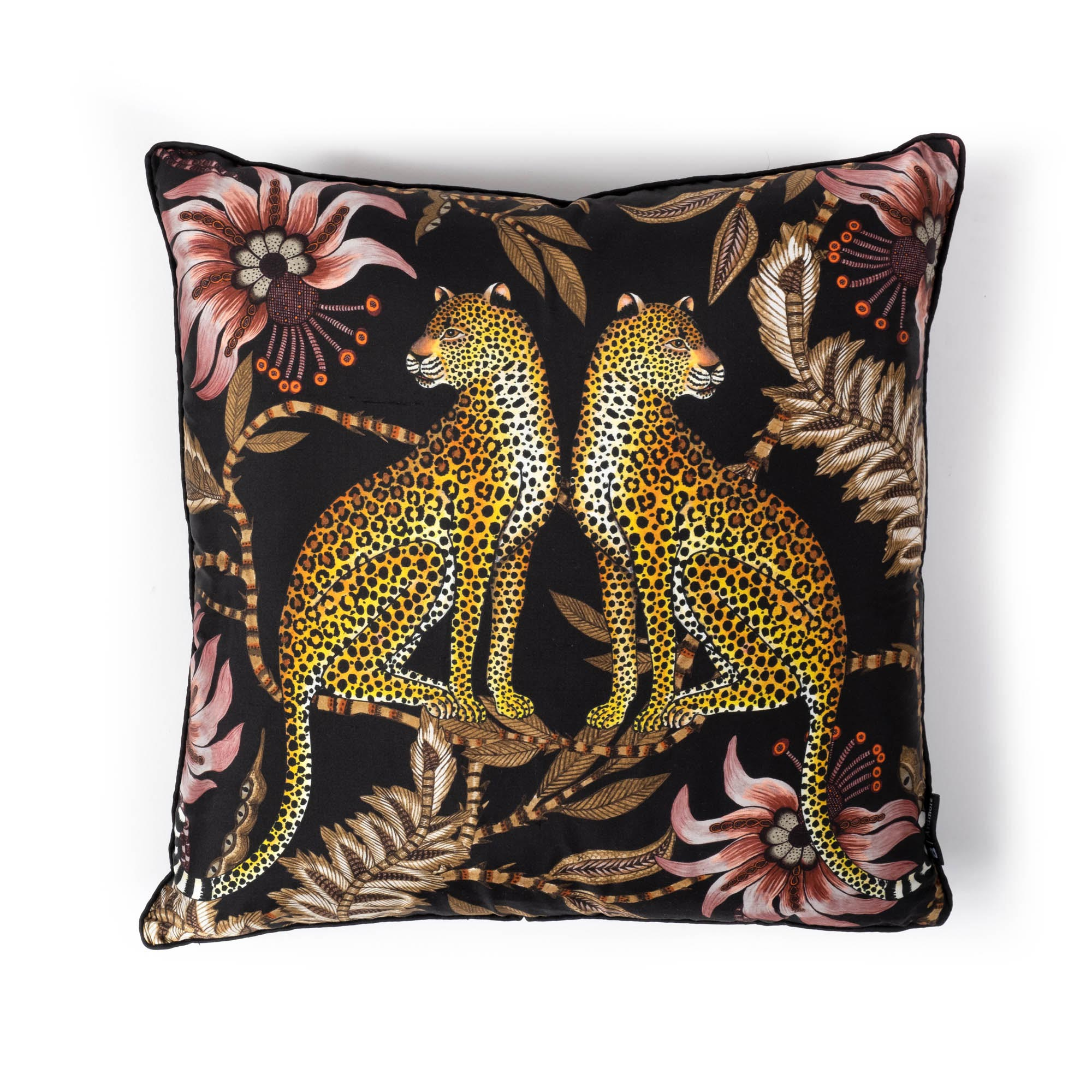 Lovebird Leopards Pillow - Silk - Night