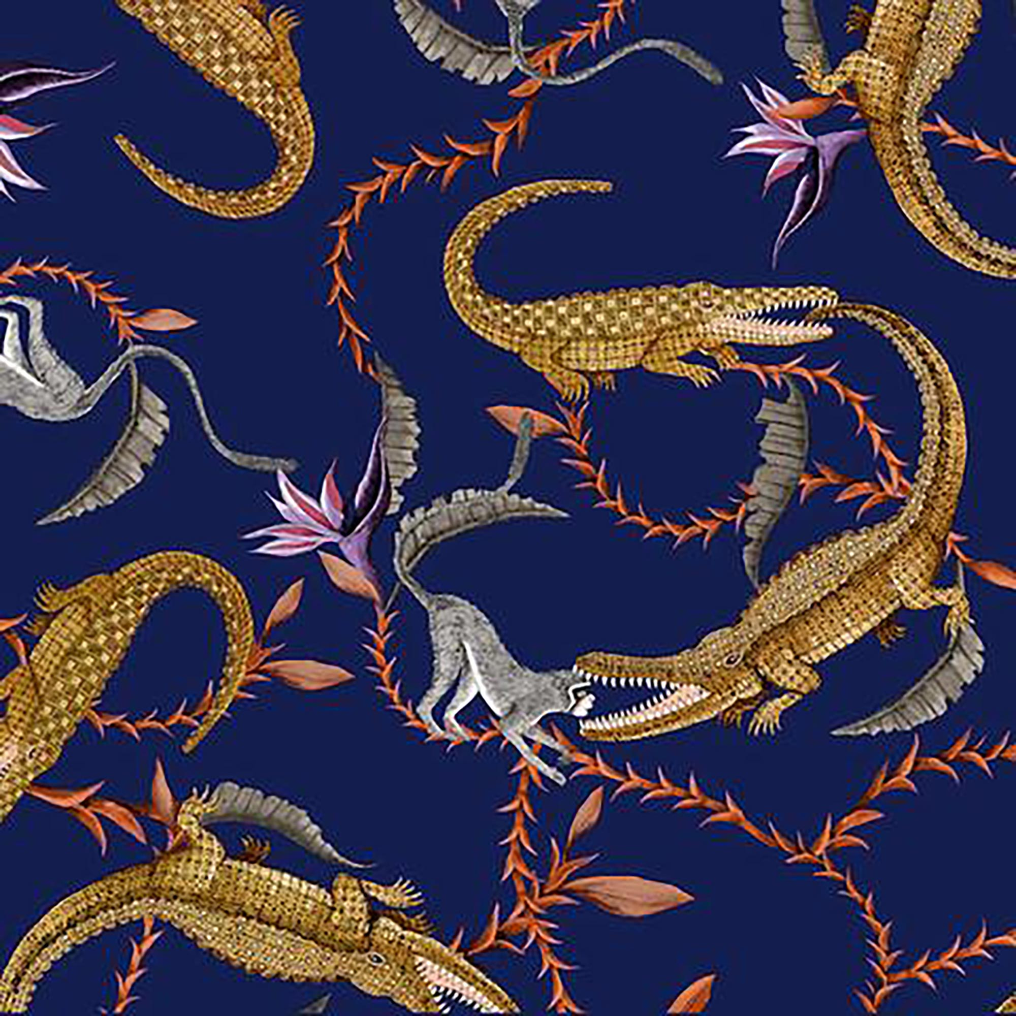 River Chase Fabric - Linen - Royal