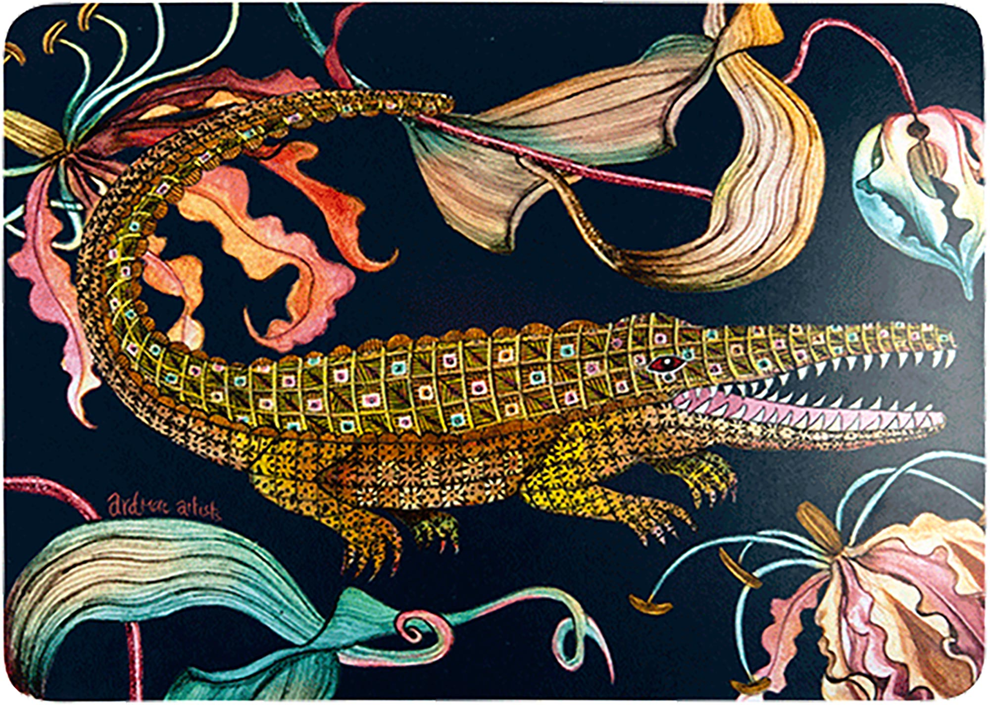 Flame Lily Crocodile Placemats (Pair) - Moonlight