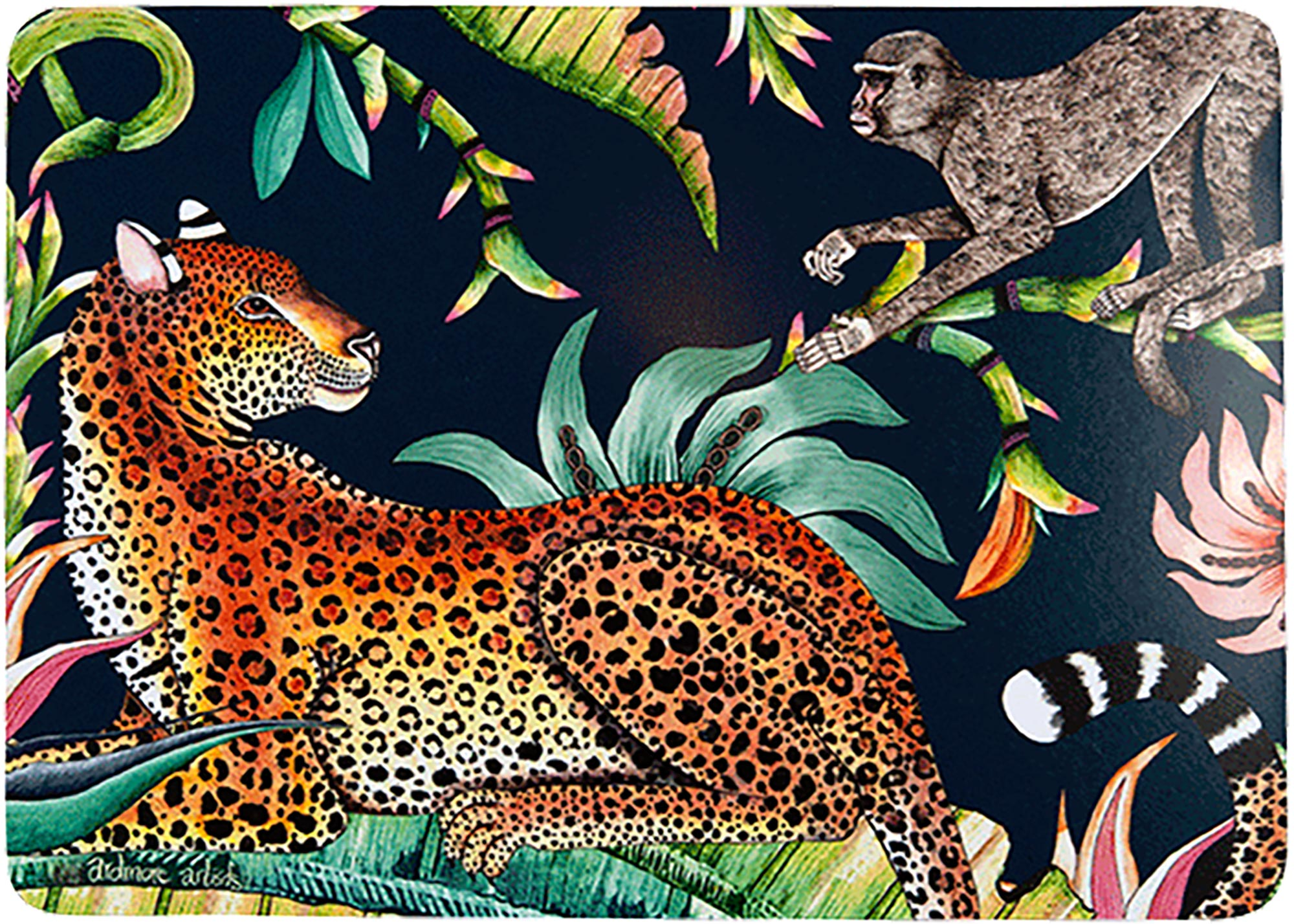 Monkey Paradise Placemats (Pair) - Moonlight