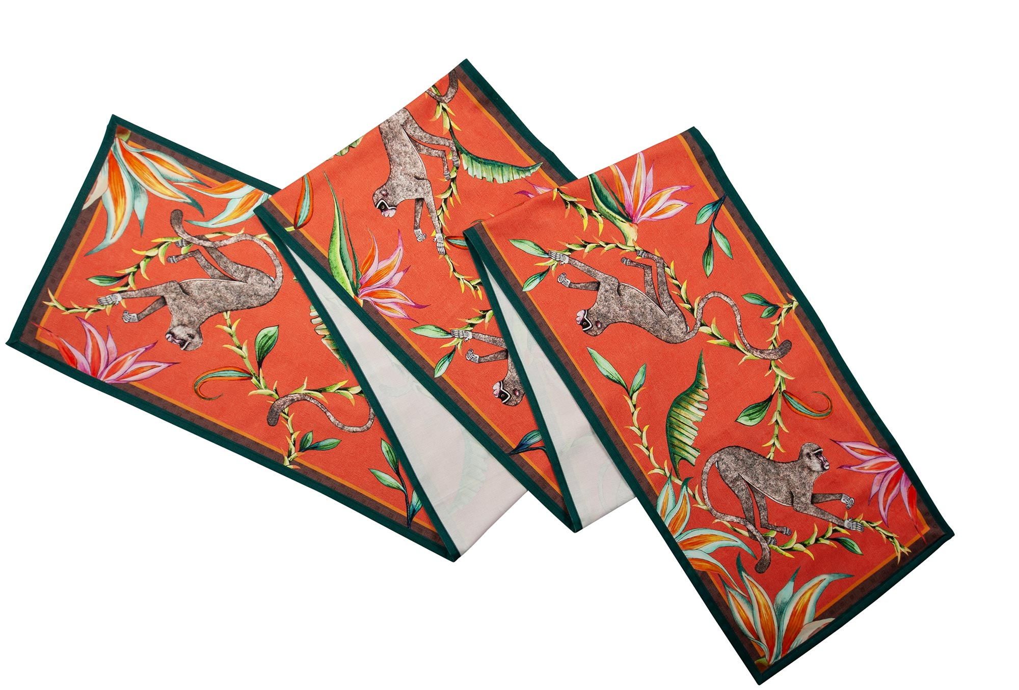 Monkey Paradise Table Runner - Coral - Large