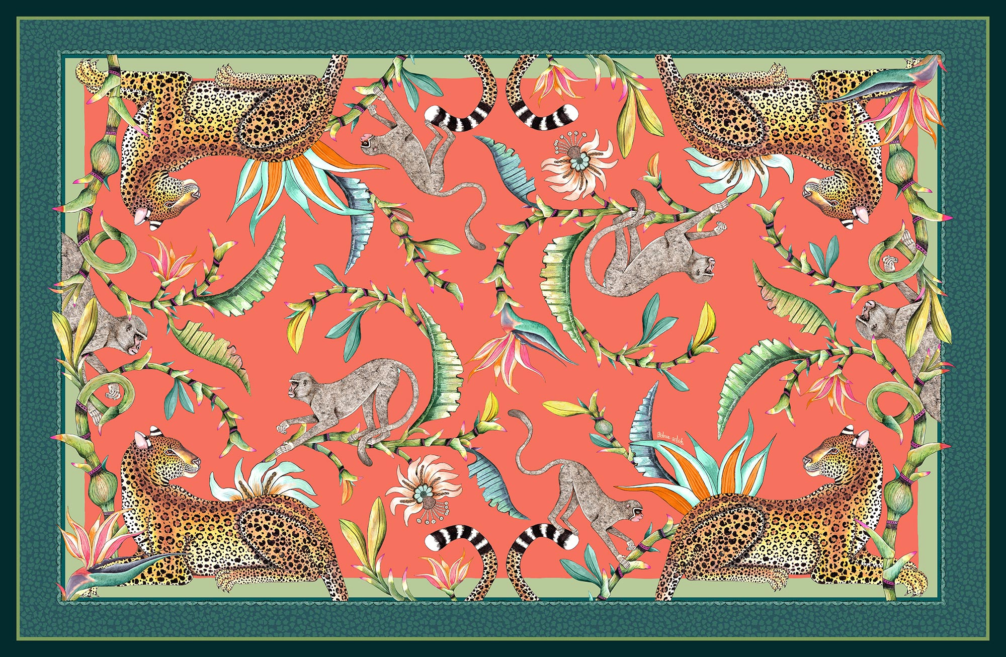 Monkey Paradise Tablecloth - Coral - Small