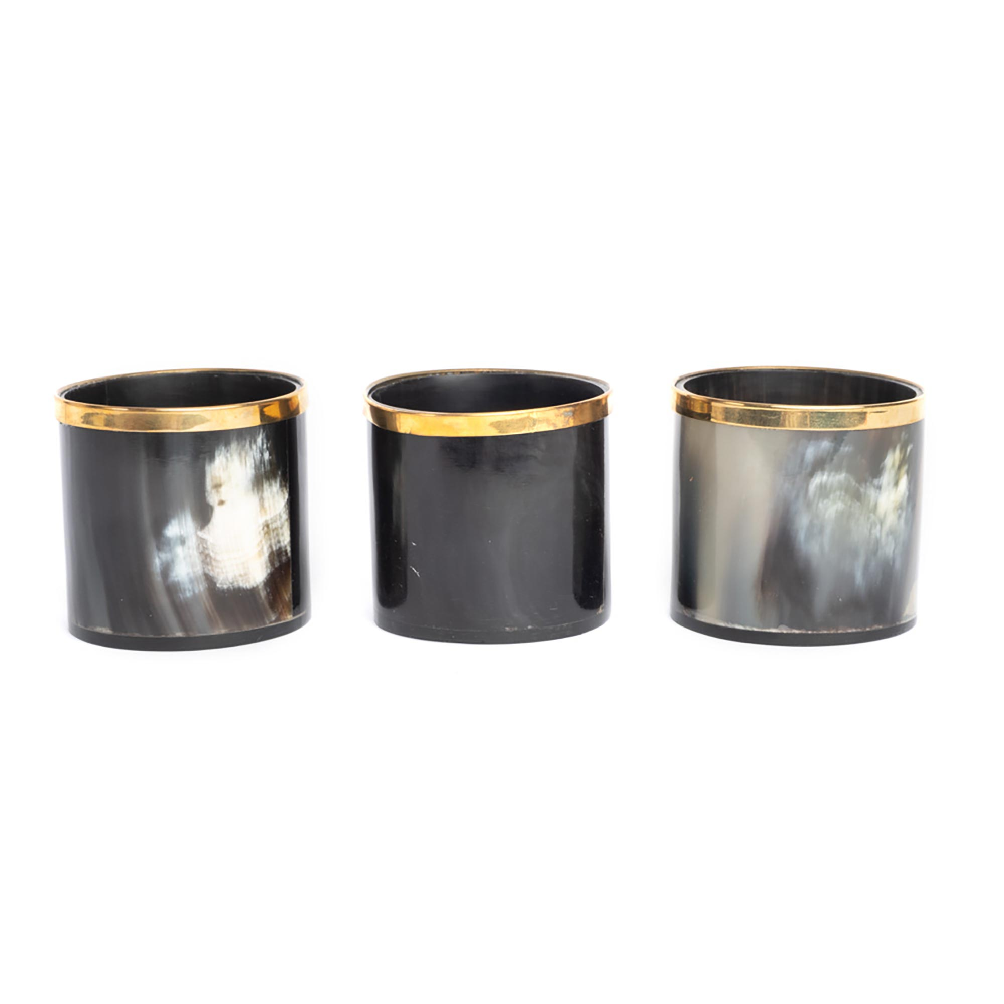 Cow Horn Votive w/ Gold Trim