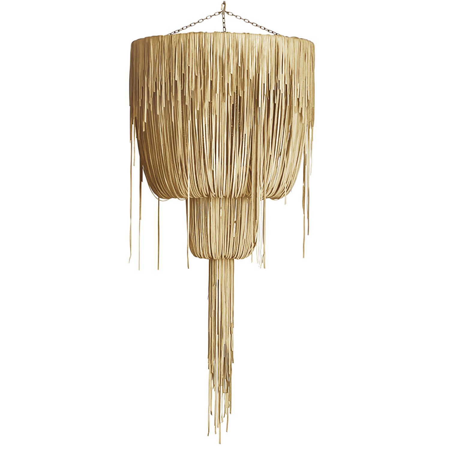 Urchin Chandelier - Large Double-Ball - Metallic Leather (Made to Order)