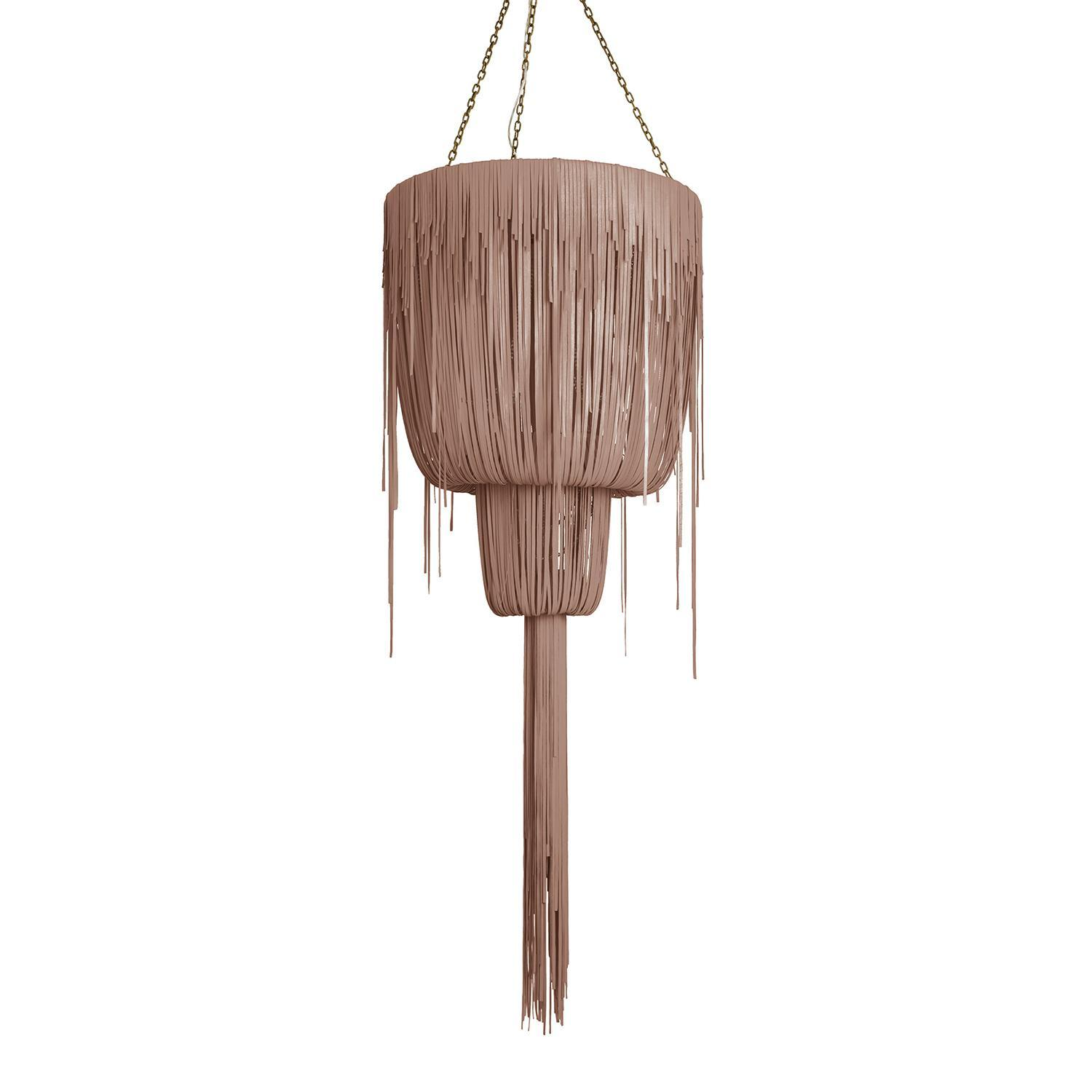 Urchin Chandelier - Medium Double-Ball - Metallic Leather (Made to Order)