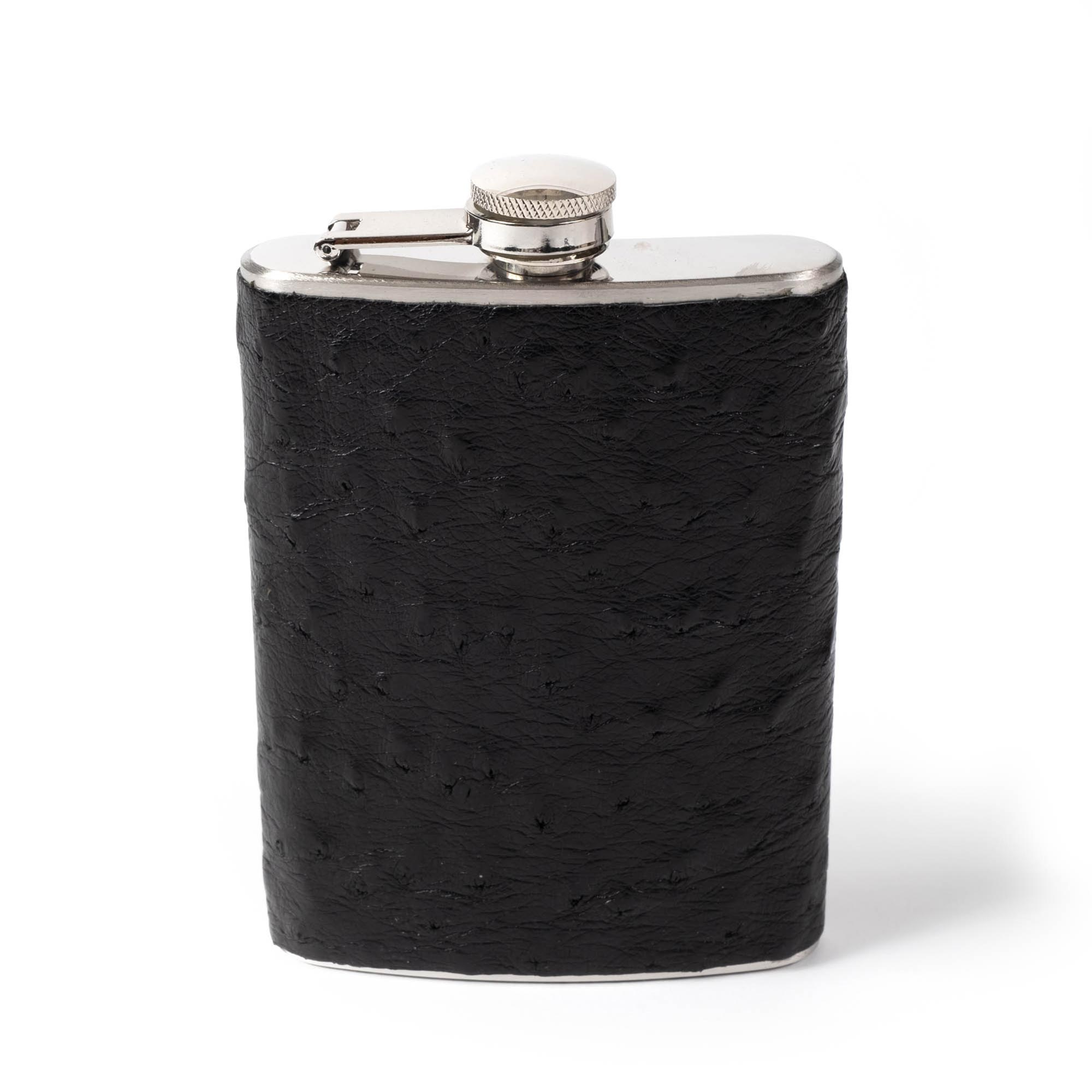 Ostrich Leather Flask - Black