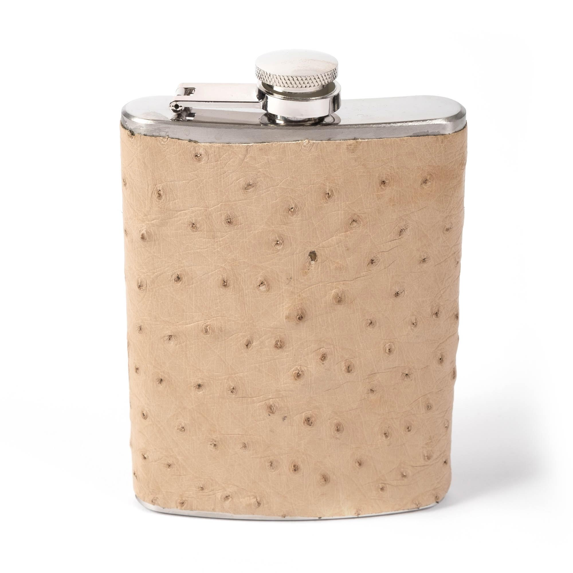 Ostrich Leather Flask - Cream