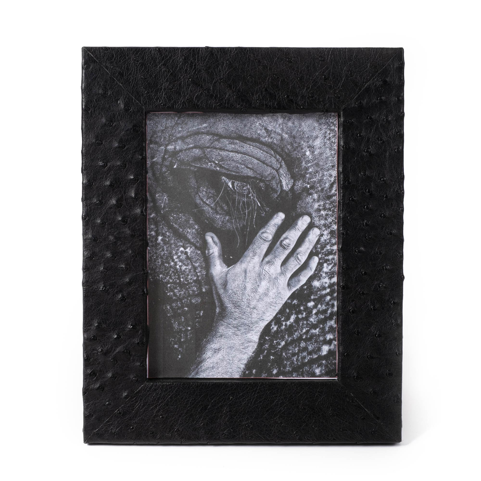 Ostrich Leather Photo Frame - Black