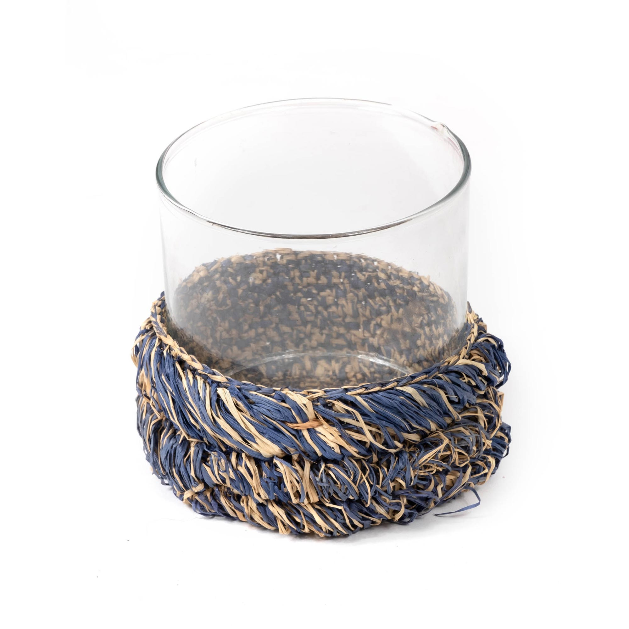 Raffia Glass Cylinder - Blue