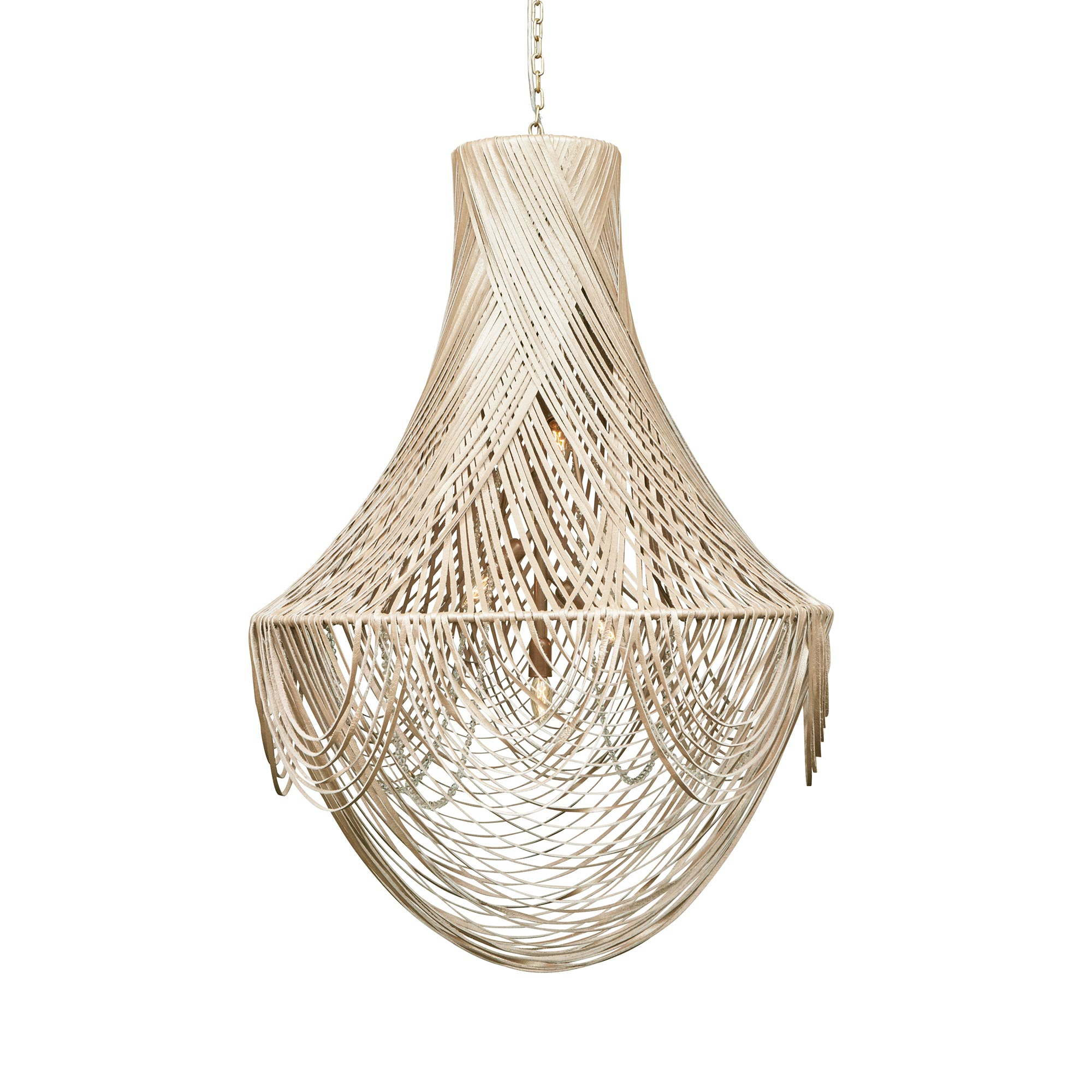 Empire Chandelier - Large - Cream-Stone Leather