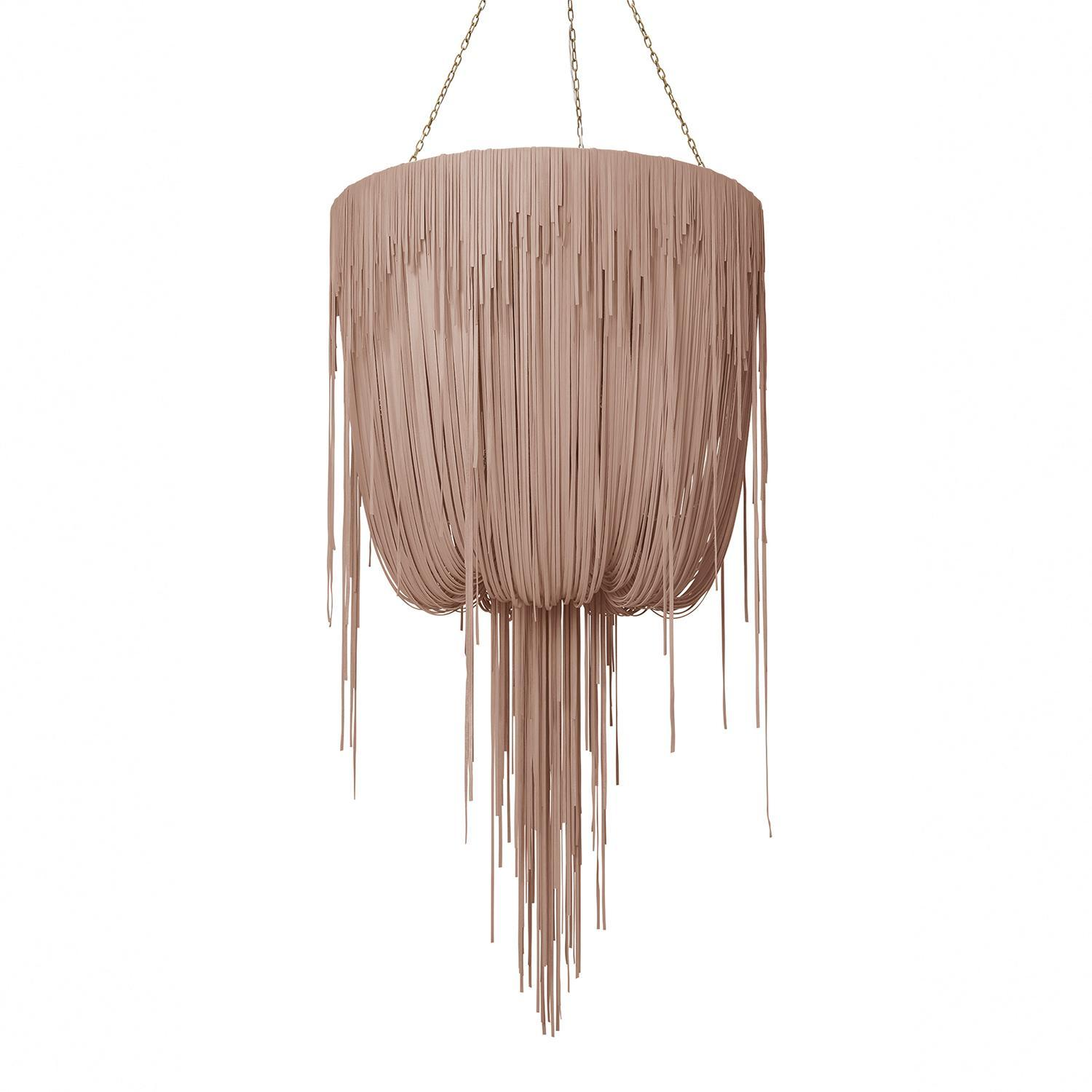 Urchin Chandelier - Medium - Metallic Leather (Made to Order)