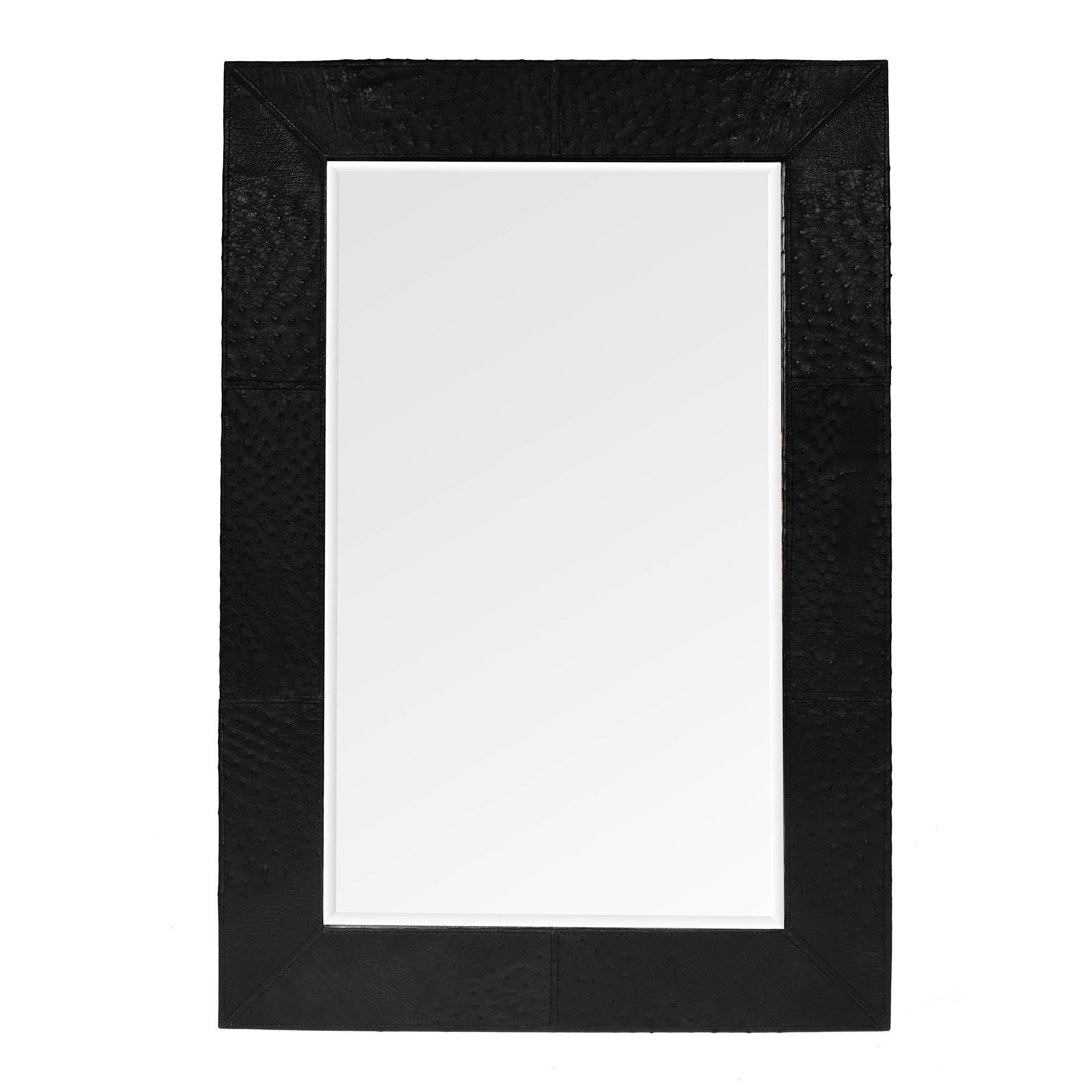 Ostrich Leather Mirror - Rectangle - Black