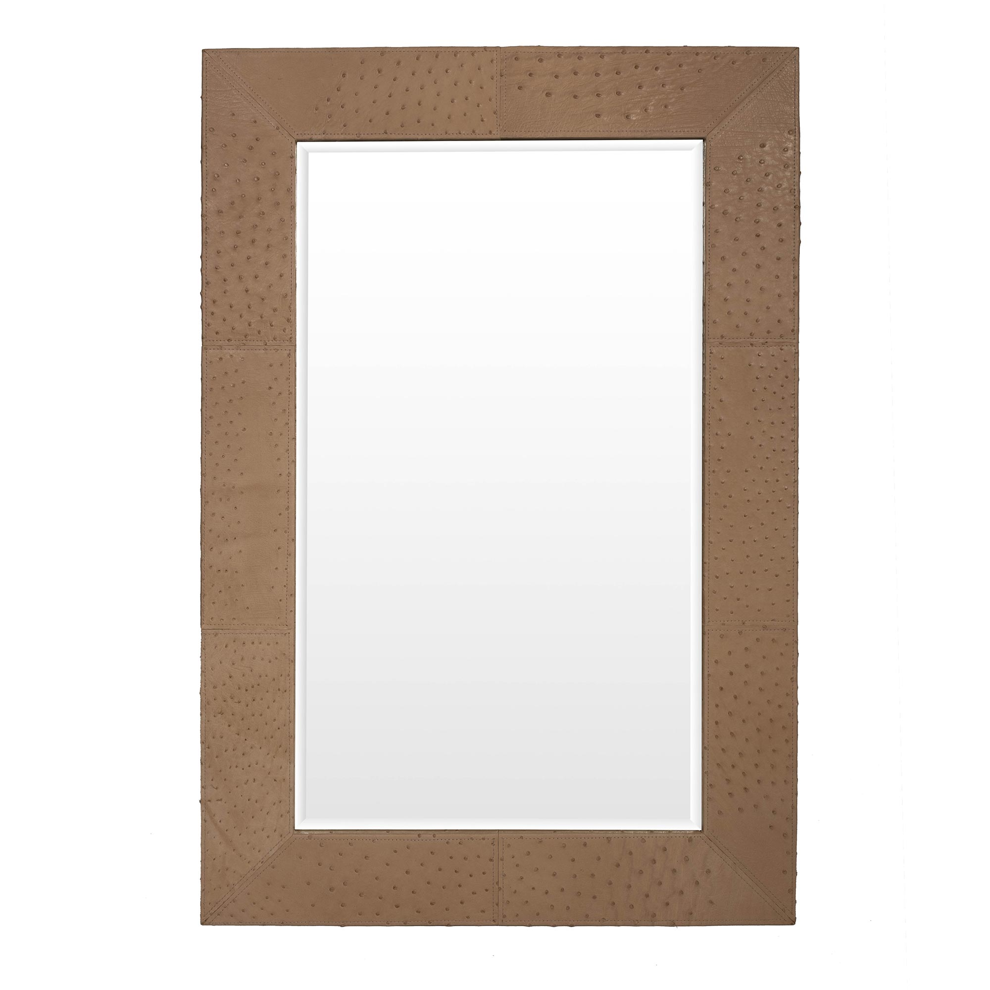 Ostrich Leather Mirror - Rectangle - Cream