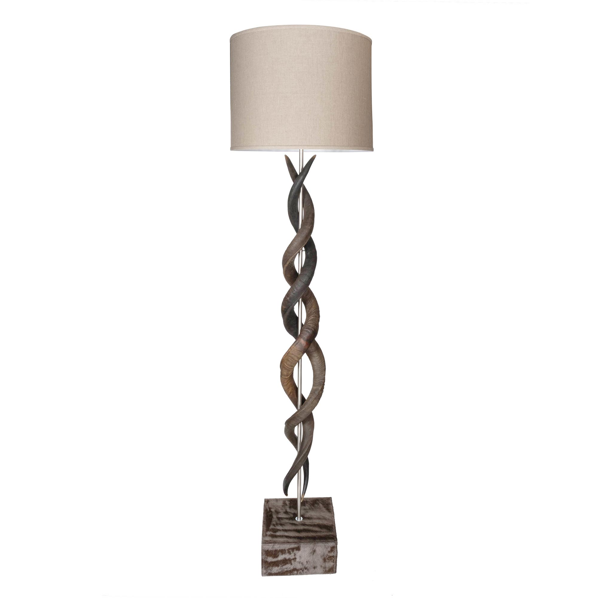Natural Kudu Horn Double Twist Standing Lamp