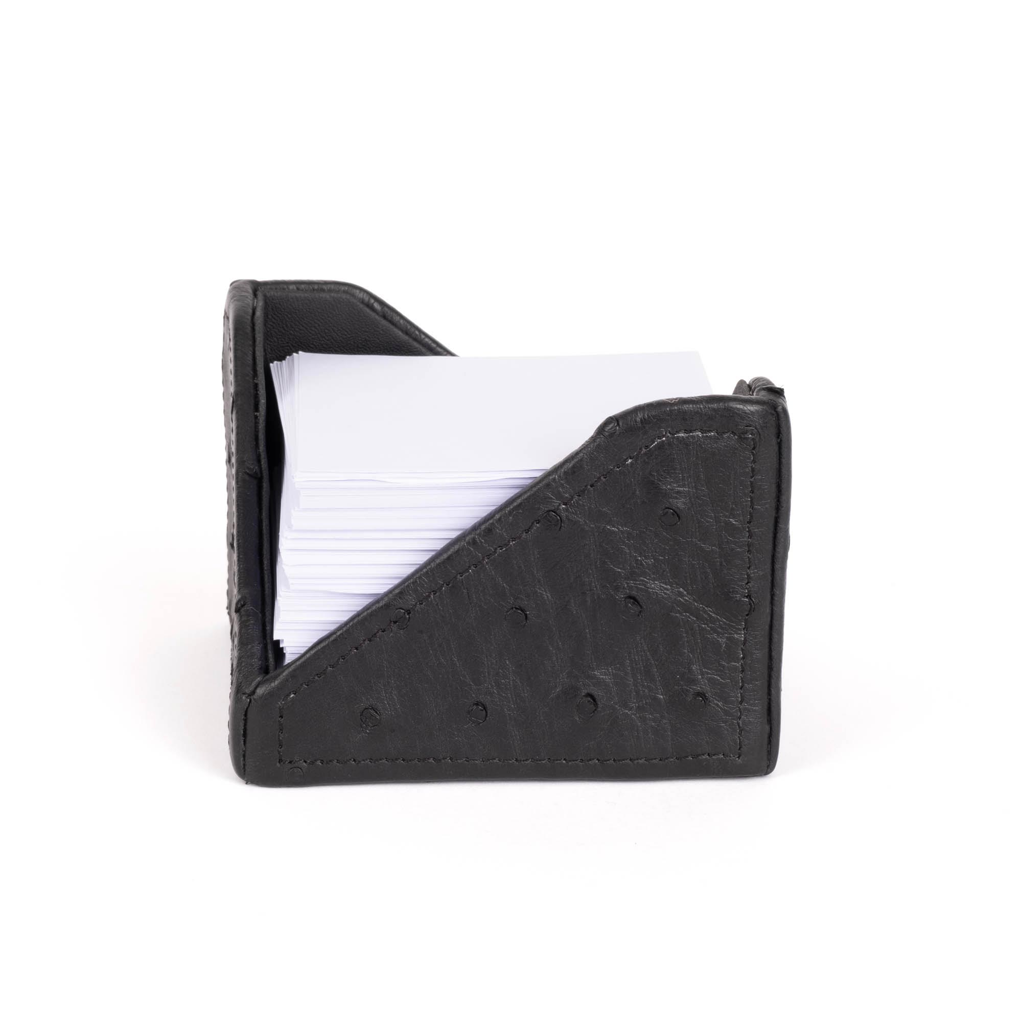 Note Paper Holder - Ostrich Leather - Black
