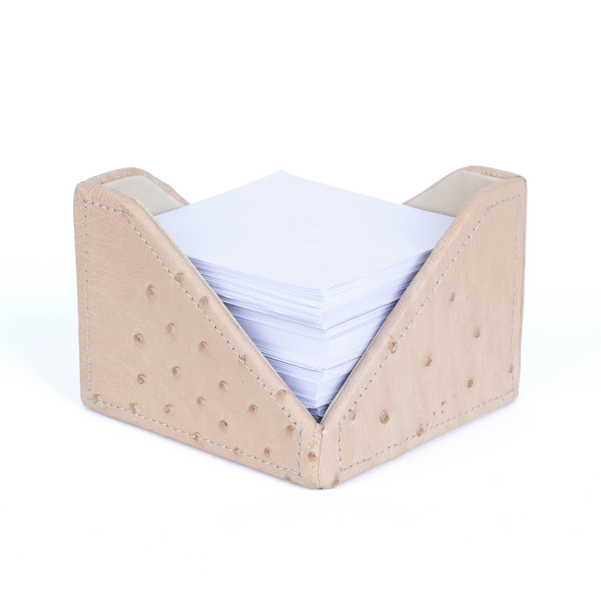 Note Paper Holder - Ostrich Leather - Cream