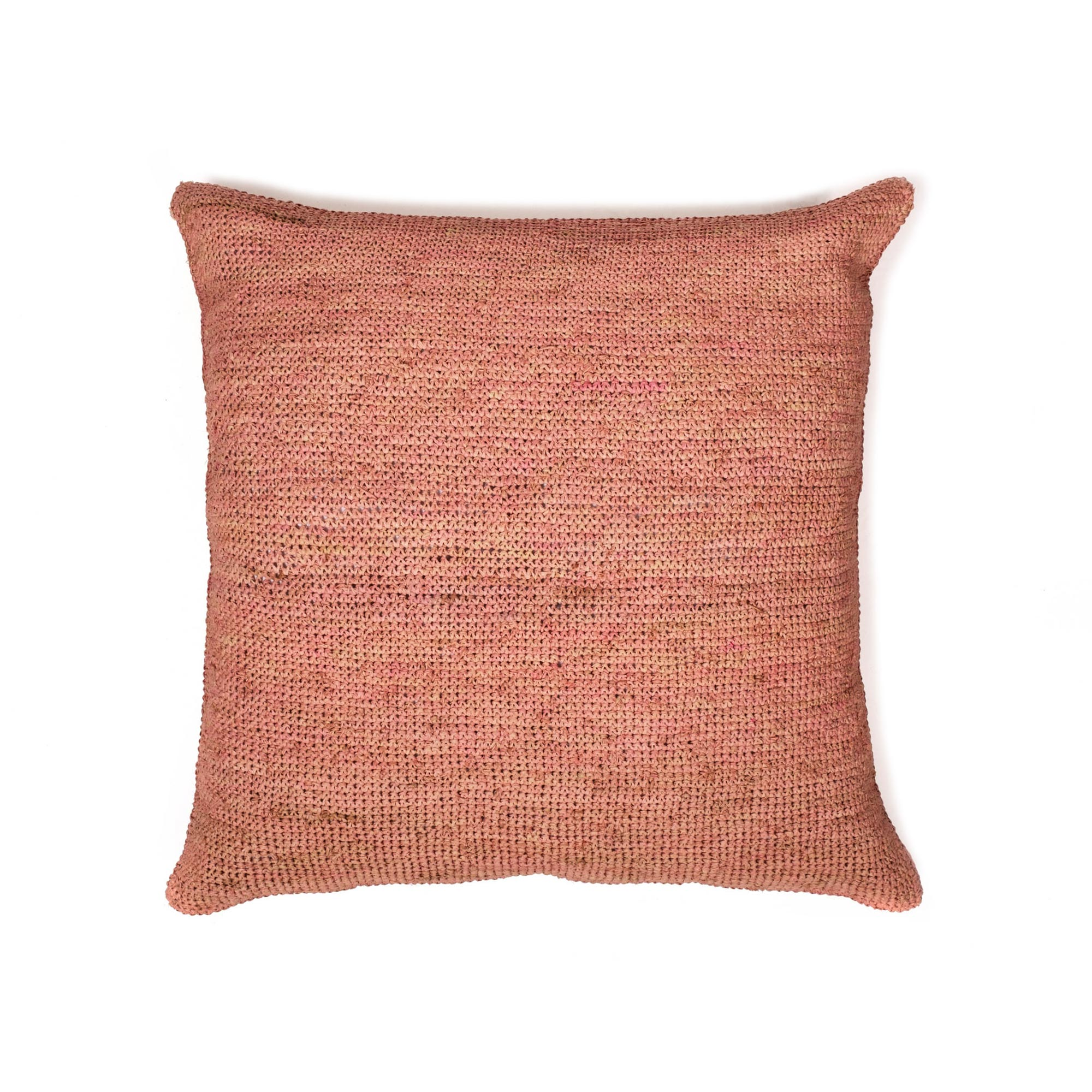 Raffia Pillow - Crochet - Blush