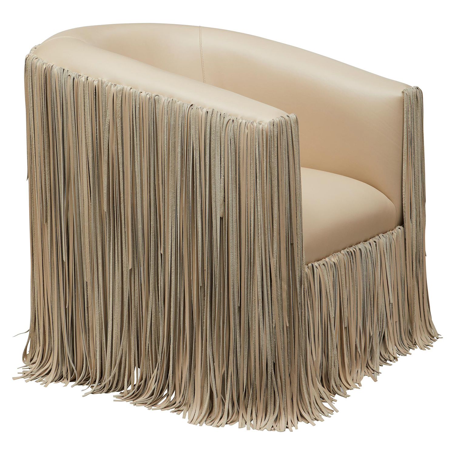 Shaggy Leather Swivel Chair - Cream-Stone Leather