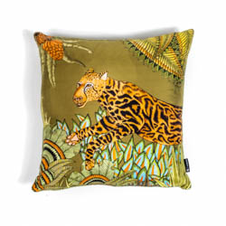 Cheetah Kings Forest Pillow - Silk - Delta