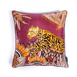 Cheetah Kings Forest Pillow - Silk - Plum