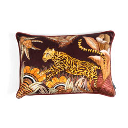 Cheetah Kings Forest Lumbar Pillow - Velvet - Plum