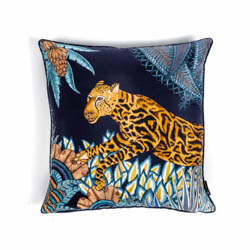 Cheetah Kings Forest Pillow - Silk - Tanzanite