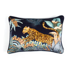 Cheetah Kings Forest Lumbar Pillow - Velvet - Tanzanite