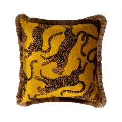 Cheetah Kings Pillow - Velvet w/ Fringe - Gold