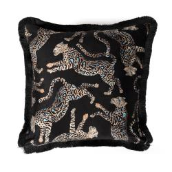 Cheetah Kings Pillow - Velvet w/ Fringe - Starry Night