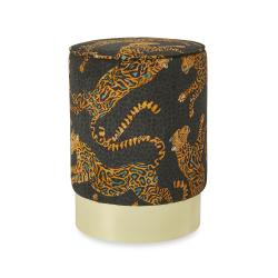 Cheetah Kings Velvet Pouf on Gold Base - Amber