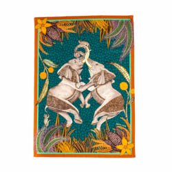 Dancing Elephants Tea Towel - Delta