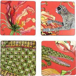 Flame Lily Crocodile Coasters (S/4) - Coral