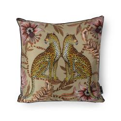 Lovebird Leopards Pillow - Silk - Delta