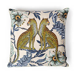 Lovebird Leopards Pillow - Silk - Tanzanite