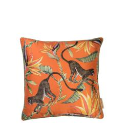 Monkey Paradise Pillow - Silk - Flame