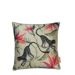 Monkey Paradise Pillow - Silk - Stone