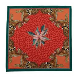 Leopard Lily Napkins (Pair) - Coral